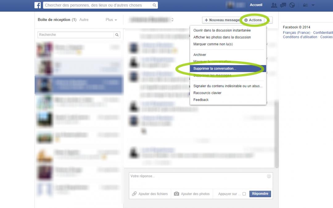 Supprimer ses messages et son historique Facebook