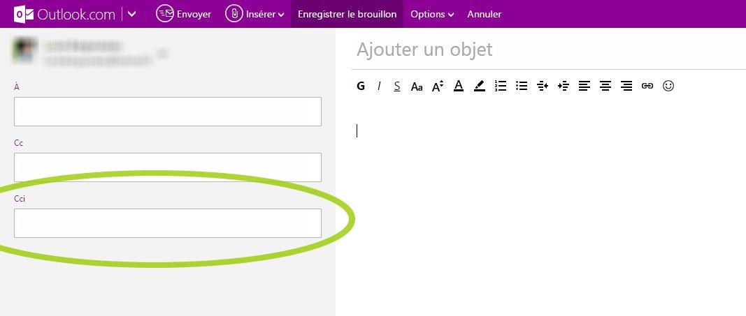 Mettre des contacts en copie cachée d'un e-mail