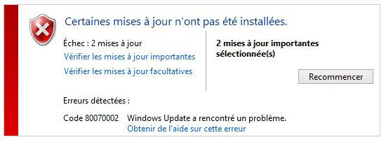 Codes d'erreur Windows